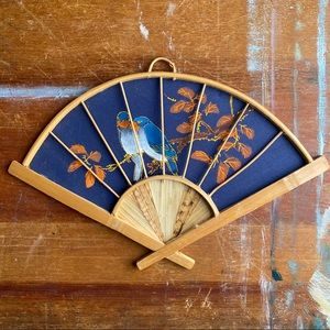 Vintage Boho Hand Painted Wall Hanging Fan